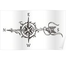 Compass with arrow Poster