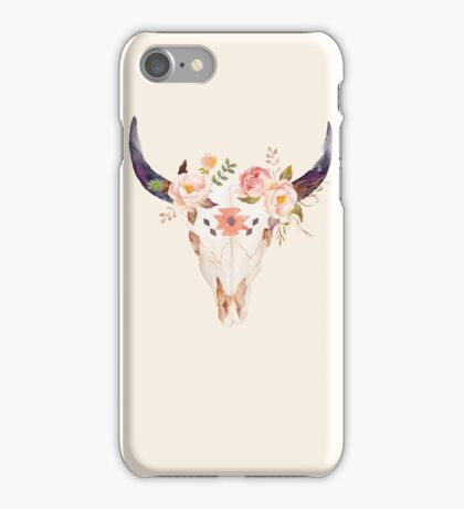 Ethnic Flowers Bull Head  iPhone Case/Skin