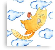 Vector watercolor illustration of cat hipster. Canvas Print