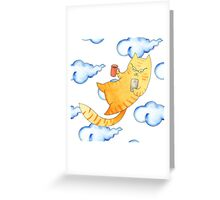 Vector watercolor illustration of cat hipster. Greeting Card