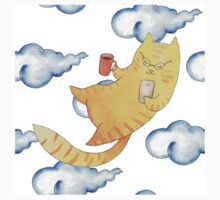 Vector watercolor illustration of cat hipster. Baby Tee