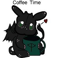 Toothless Chibi Coffee Time  Photographic Print