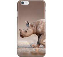 Black Rhinoceros baby running iPhone Case/Skin