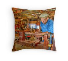 Foot Operated Wood Lathe Throw Pillow