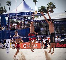 """Final Mens Championship Match - AVP Pro Volleyball Tour, Santa Barbara, California 2010"" by Alexis  Lezin"