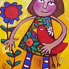 MARGOT AND THE LOVEBIRD  by ART PRINTS ONLINE         by artist SARA  CATENA