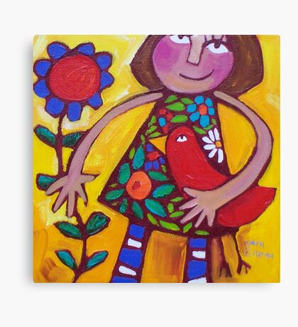 MARGOT AND THE LOVEBIRD  Canvas Print
