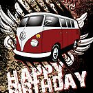 Volkswagen Birthday Card- 11 Window Split by KombiNation