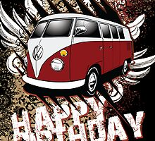 Volkswagen Birthday Card- 11 Window Split by KombiNation