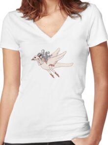 Flight of Fancy Women's Fitted V-Neck T-Shirt