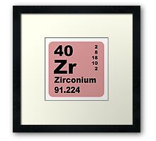Zirconium Periodic Table of Elements Framed Print