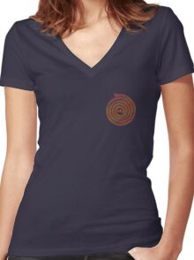 Psychedelic Warli Spiral 3 Women's Fitted V-Neck T-Shirt