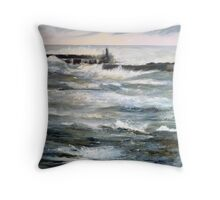 Staithes Breakwater Throw Pillow
