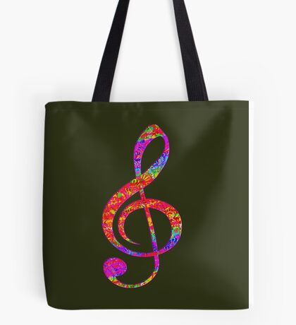 Psychedelic Music note 1 Tote Bag