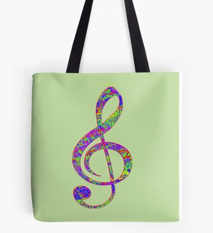 Psychedelic Music note 3 Tote Bag