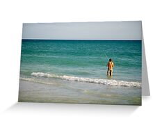 a fisherman in the gulf Greeting Card