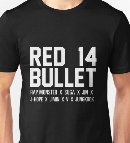 RED BULLET BTS white Unisex T-Shirt