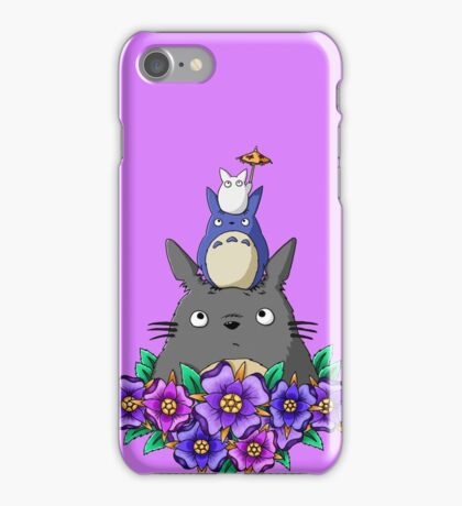 Totoro Tower and Flowers iPhone Case/Skin