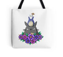Totoro Tower and Flowers Tote Bag