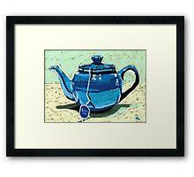 Tea time - blue teapot Framed Print