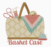 Funny seamstress sewing basket case crazy face by BigMRanch