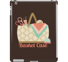 Funny seamstress sewing basket case crazy face iPad Case/Skin