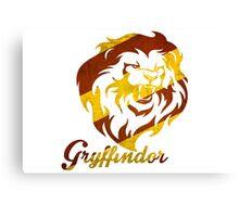 Lion - Red & Gold Stripes Canvas Print