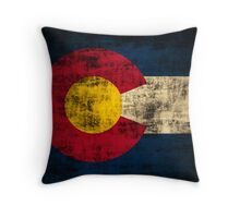Vintage Grunge Colorado Flag Throw Pillow