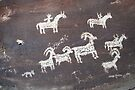 Ute Sheep Hunt - Petroglyph by Harry Snowden