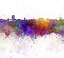 Ann Arbor skyline in watercolor background by paulrommer