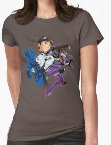 Shinji Ikari and Eva Unit-01 Womens Fitted T-Shirt