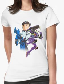 Shinji Ikari and Eva Unit-01 Womens Fitted T-Shirt