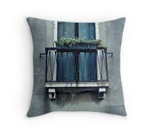 Blue Balcony Throw Pillow