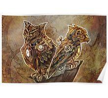 Two Clockwork Owls Poster