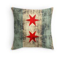 Vintage Grunge Chicago Flag Throw Pillow