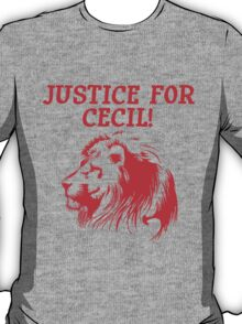 Justice For Cecil The Lion T Shirt (Red Font) T-Shirt