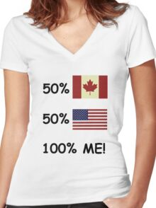 100 Percent Me! Canadian/American Women's Fitted V-Neck T-Shirt