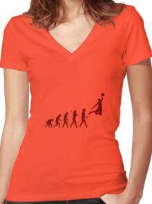 Basketball evolution geek funny nerd Women's Fitted V-Neck T-Shirt