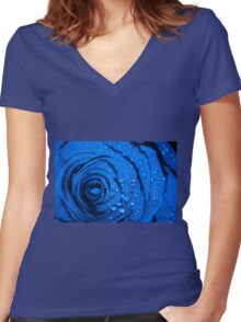 Blue Rose with Droplets Women's Fitted V-Neck T-Shirt