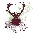 Grunge Stag with Floral 2 by AnnArtshock