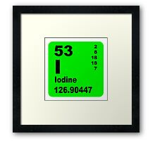 Iodine Periodic Table of Elements Framed Print