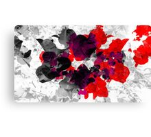 Abstract floral design in red and monochromes Canvas Print