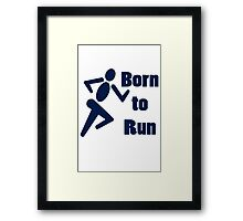 Born to run running boys bike race blue geek funny nerd Framed Print