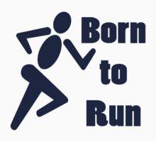 Born to run running boys bike race blue geek funny nerd by katabudi