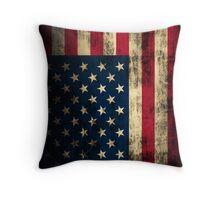 Rustic Patriotic American Flag Throw Pillow