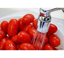 Washing Grape Tomatoes Photographic Print