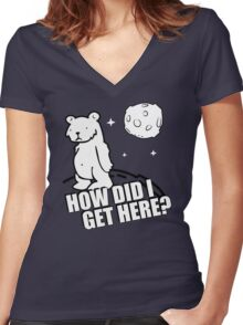 Desmond the Moon Bear Funny Humor Hoodie / T-Shirt Women's Fitted V-Neck T-Shirt