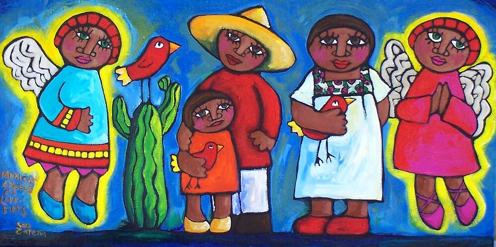 MEXICAN ANGELS AND LOVEBIRDS  by ART PRINTS ONLINE         by artist SARA  CATENA