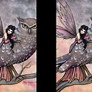 Friendship Fairy and Owl Fantasy Art Illustration by Molly Harrison by Molly  Harrison