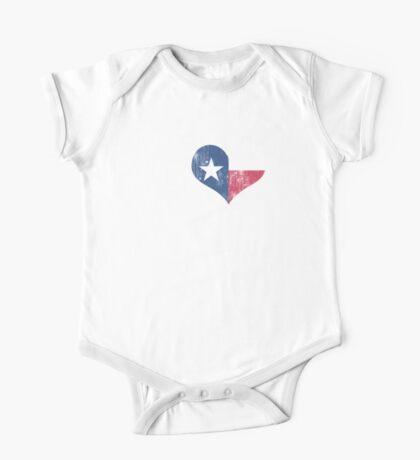 I Heart Texas Flag TX One Piece - Short Sleeve